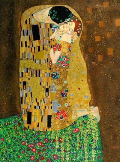 Gustav Klimt'in Kiss adlı tablosu.